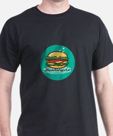 Retro 1950s Diner Hamburger Circle T-Shirt
