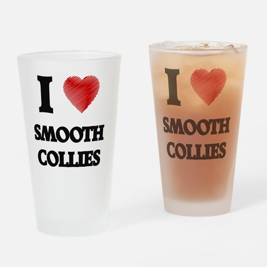 I love Smooth Collies Drinking Glass