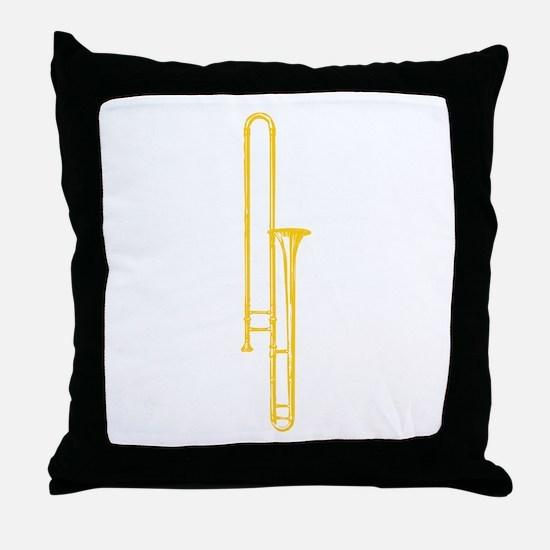"""Woodcut """"Brass"""" Trombone Throw Pillow"""