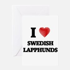 I love Swedish Lapphunds Greeting Cards