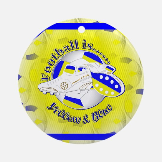 Blue and Yellow Football Soccer Round Ornament