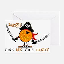 Halloween Pumpkin Pirate Greeting Card