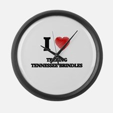 I love Treeing Tennessee Brindles Large Wall Clock