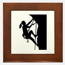 Climbing woman girl Framed Tile