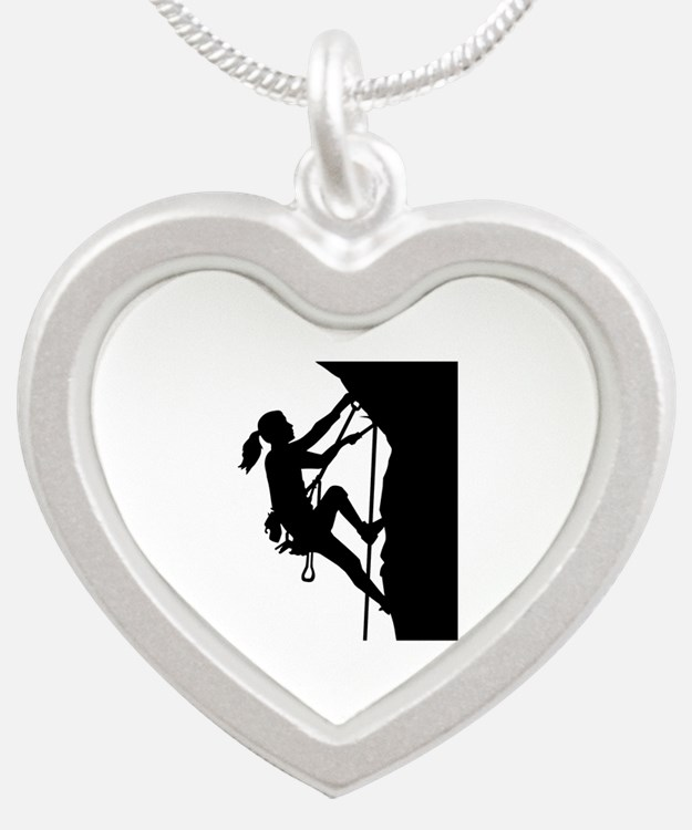 Climbing woman girl Silver Heart Necklace