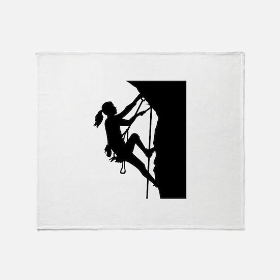 Climbing woman girl Throw Blanket