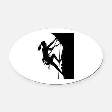 Climbing woman girl Oval Car Magnet