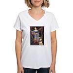 Ophelia / Bull Ter Women's V-Neck T-Shirt