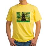 Bridge / Black Cocker Spaniel Yellow T-Shirt