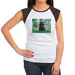Bridge / Black Cocker Spaniel Women's Cap Sleeve T