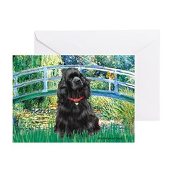 Bridge / Black Cocker Spaniel Greeting Cards (Pk o