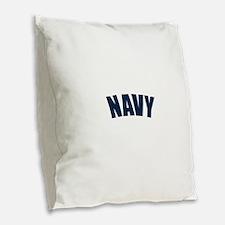 NAVY Burlap Throw Pillow