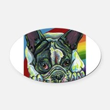 Rainbow Frenchie Oval Car Magnet