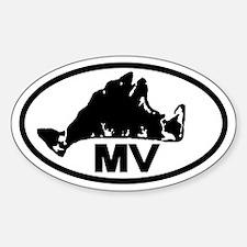 Martha's Vineyard MV Map Oval Decal