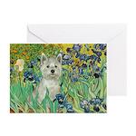Irises / Westie Greeting Cards (Pk of 20)