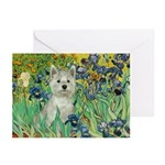 Irises / Westie Greeting Cards (Pk of 10)