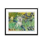 Irises / Westie Framed Panel Print
