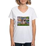 Lilies (#2)/Pug (#2) Women's V-Neck T-Shirt
