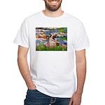 Lilies (#2)/Pug (#2) White T-Shirt