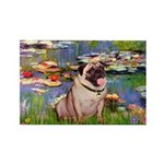 Lilies (#2)/Pug (#2) Rectangle Magnet