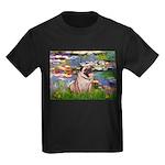 Lilies (#2)/Pug (#2) Kids Dark T-Shirt