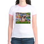 Lilies (#2)/Pug (#2) Jr. Ringer T-Shirt