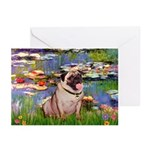 Lilies (#2)/Pug (#2) Greeting Cards (Pk of 20)