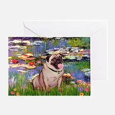Lilies (#2)/Pug (#2) Greeting Card