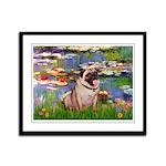 Lilies (#2)/Pug (#2) Framed Panel Print