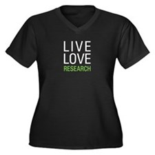 Live Love Research Women's Plus Size V-Neck Dark T