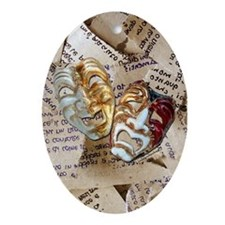 Drama Masks Oval Ornament