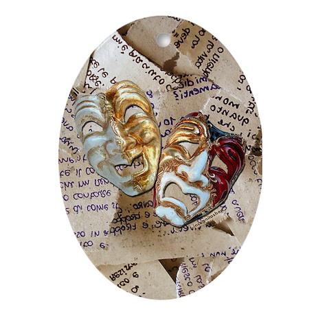 Drama Masks Oval Ornament