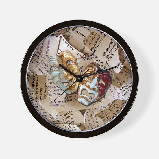 Drama Masks Wall Clock