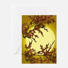 Autumn Oak Sunset Greeting Card