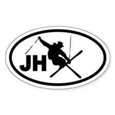 Jackson Hole JH Skier Oval Decal