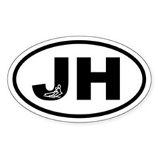 Jackson Hole JH Skier Oval Decal