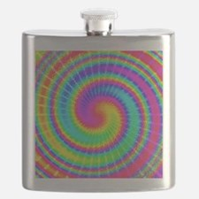 Retro TieDyed Tie Dye Swirl Colorful 60s Flask