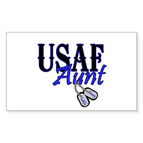 Air Force Aunt Dog Tag Rectangle Sticker