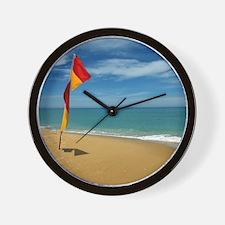 Ocean Beach Lifeguard Safety Flag in Au Wall Clock