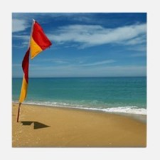 Ocean Beach Lifeguard Safety Flag in Tile Coaster