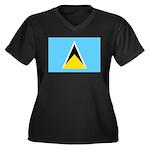 Saint Lucia Women's Plus Size V-Neck Dark T-Shirt