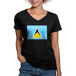 Saint Lucia Women's V-Neck Dark T-Shirt