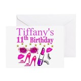 11th birthday girl Greeting Cards