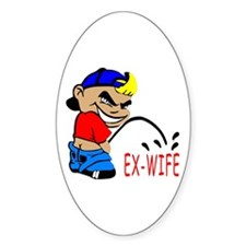 Cartoon Piss On Ex-Wife Oval Decal