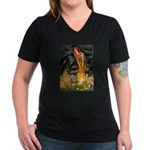 Fairies / Shar Pei Women's V-Neck Dark T-Shirt