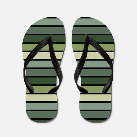 Monochrome Stripes: Shades of Green Flip Flops