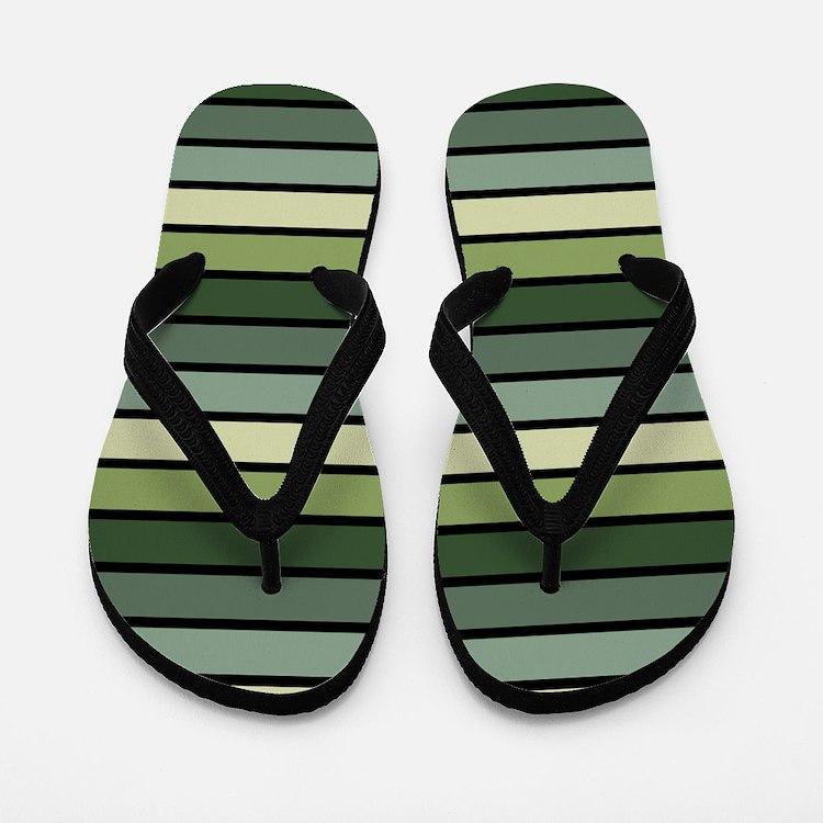 Monochrome Stripes: Shades of Green Flip Flops