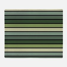 Monochrome Stripes: Shades of Green Throw Blanket