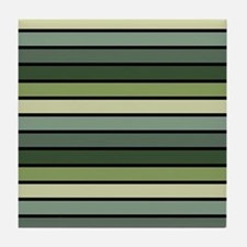 Monochrome Stripes: Shades of Green Tile Coaster