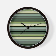 Monochrome Stripes: Shades of Green Wall Clock